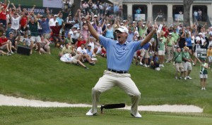 Stricker has had plenty of opportunities to strike a pose at the John Deere Classic, a tournament he won three years in a row from 2009-2012. Photo courtesy of Zimbio.com