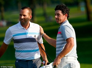 Rory and Sergio, Ryder Cup friends, exchange pleasantries after the WGC Bridgestone Invitational conclusion. Photo courtesy of dailymail.co.uk