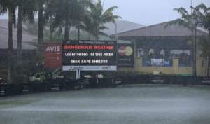 The elements were at full force during the Honda Classic, with so many delays that Harrington could not hoist the trophy until early Monday afternoon. Photo courtesy of PGATour.com.