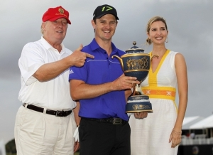 Donald Trump, the tournament sponsor, always presents the trophy, and most likely thinks getting to shake his hand is the ultimate prize. Photo courtesy of sportsworldreport.com.